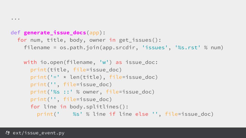 ... def generate_issue_docs(app): for num, titl...