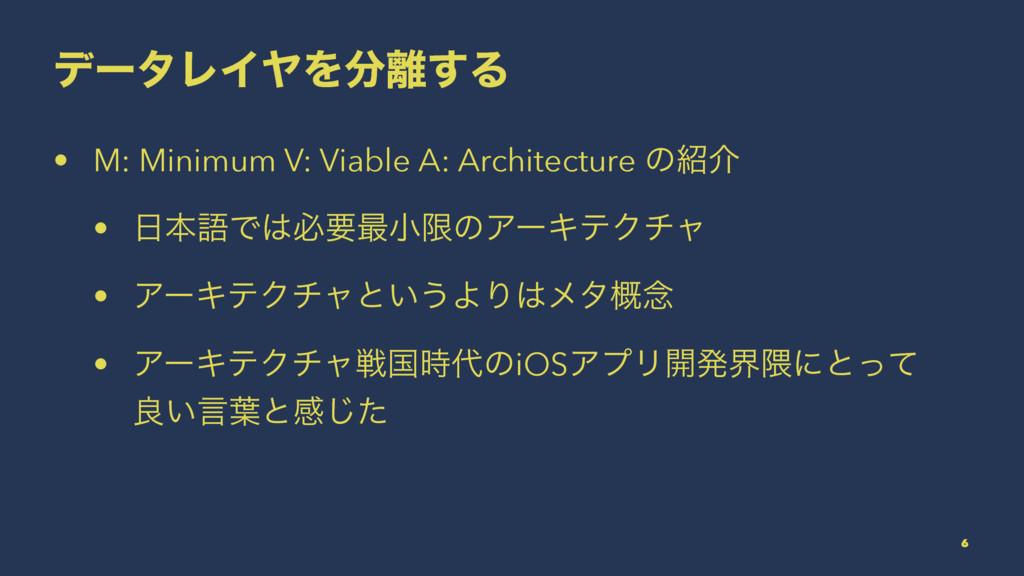 σʔλϨΠϠΛ͢Δ • M: Minimum V: Viable A: Architect...