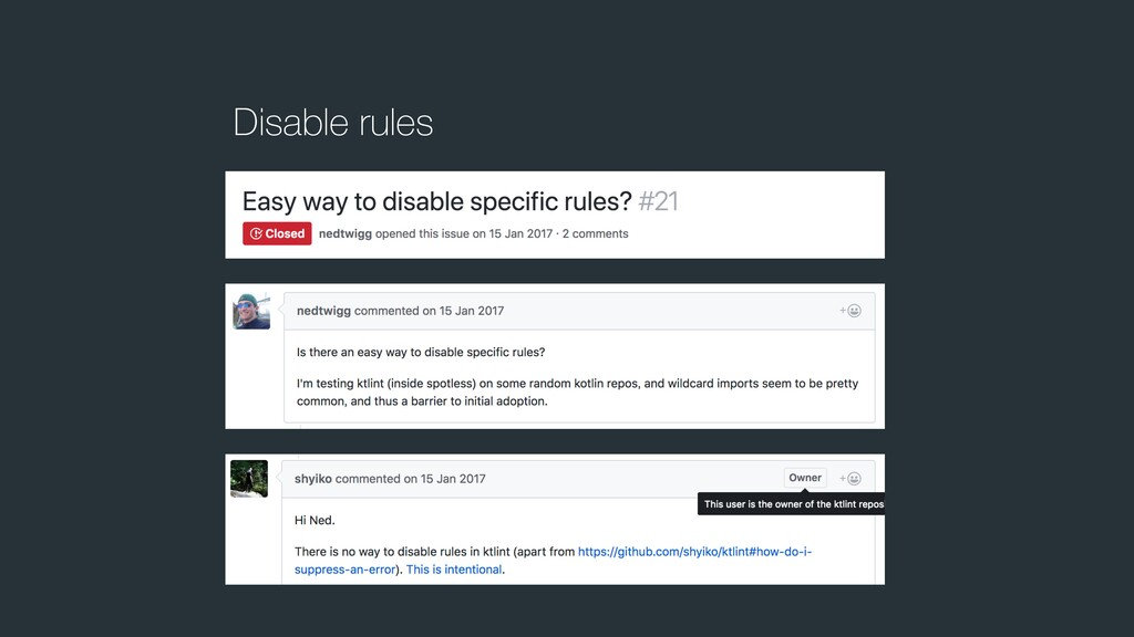Disable rules
