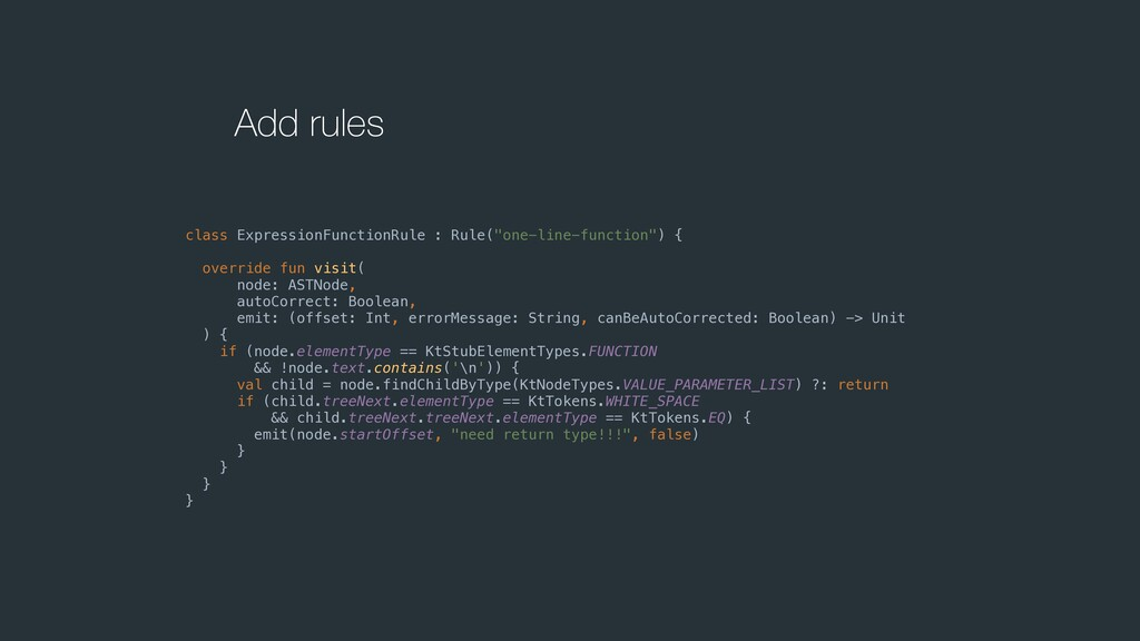 "Add rules class ExpressionFunctionRule : Rule(""..."