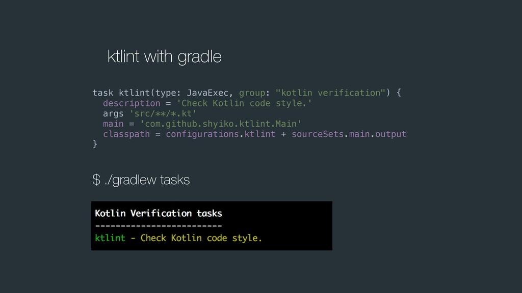 ktlint with gradle task ktlint(type: JavaExec, ...