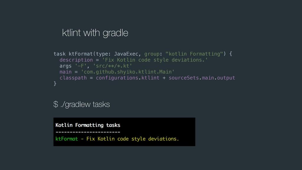 ktlint with gradle task ktFormat(type: JavaExec...