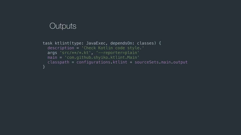 Outputs task ktlint(type: JavaExec, dependsOn: ...