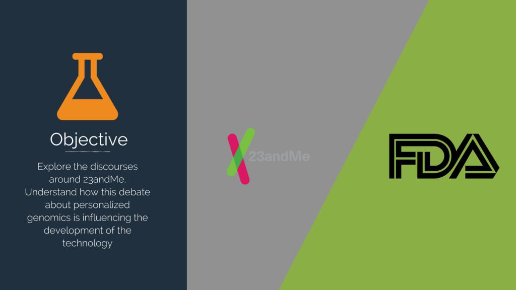 Objective Explore the discourses around 23andMe...