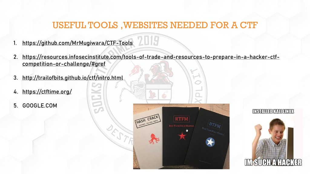 USEFUL TOOLS ,WEBSITES NEEDED FOR A CTF 1. http...