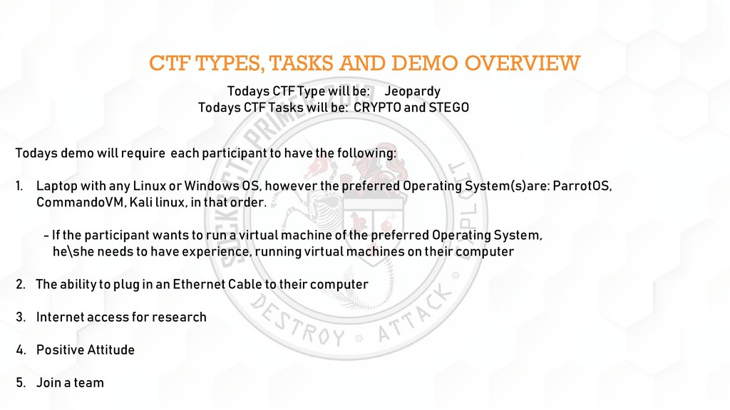 CTF TYPES, TASKS AND DEMO OVERVIEW Todays demo ...