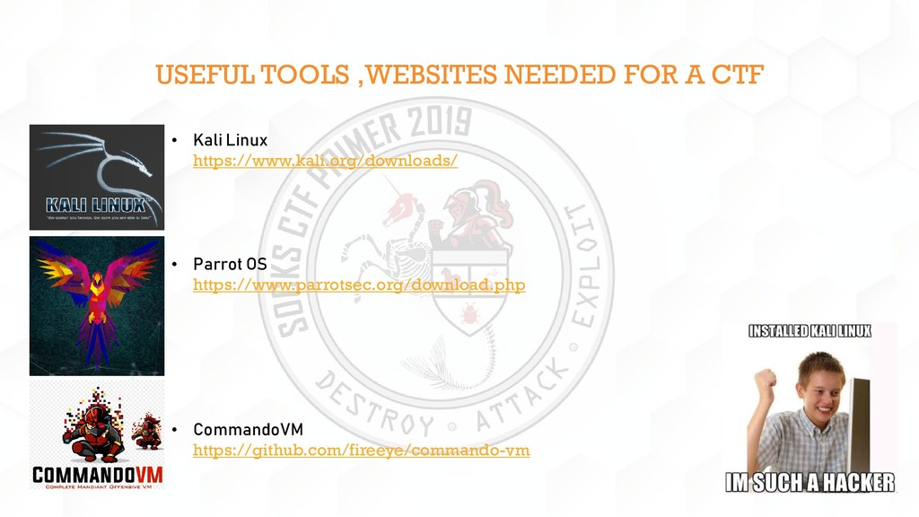 USEFUL TOOLS ,WEBSITES NEEDED FOR A CTF • Kali ...