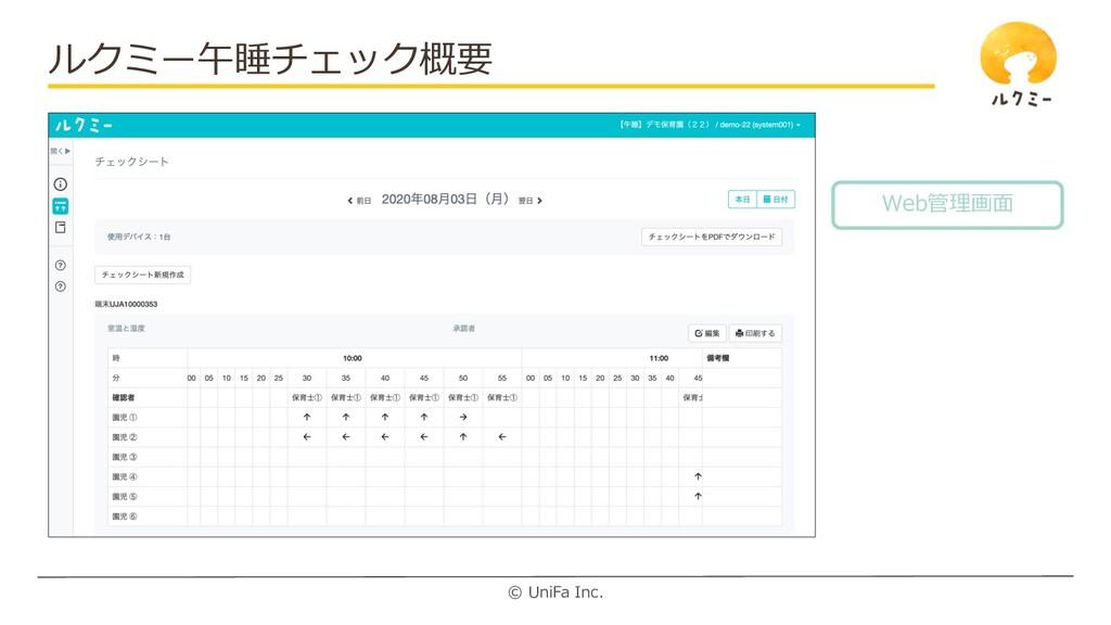 © UniFa Inc. ルクミー午睡チェック概要 Web管理画⾯
