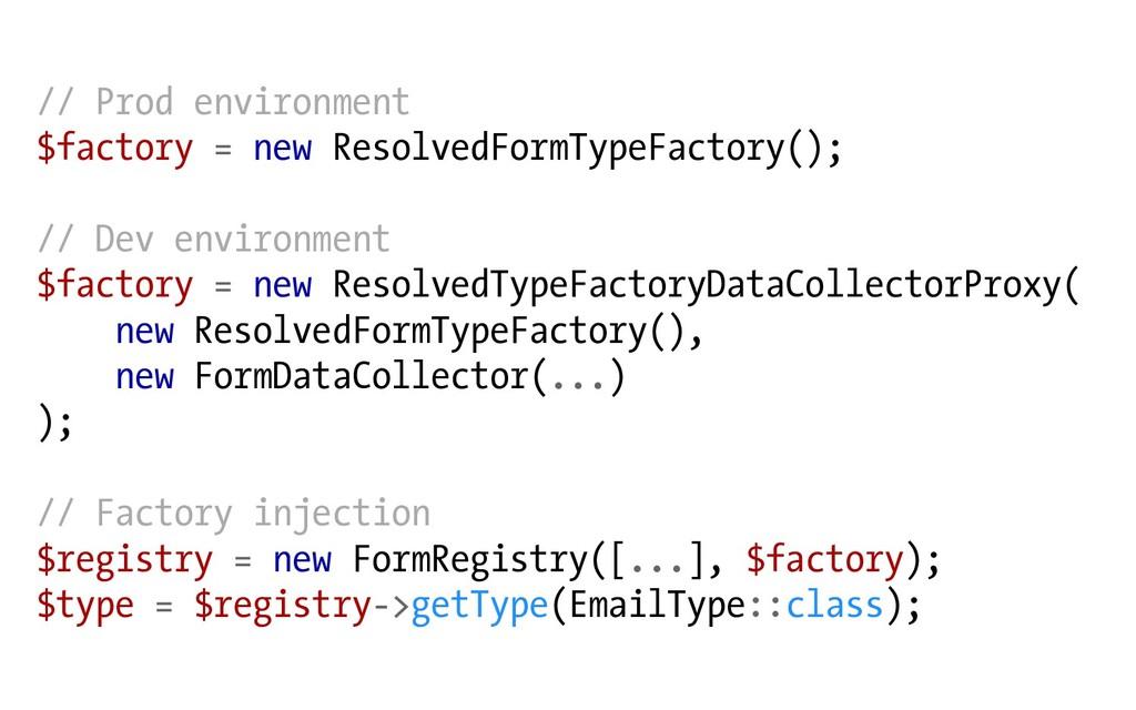 // Prod environment $factory = new ResolvedForm...