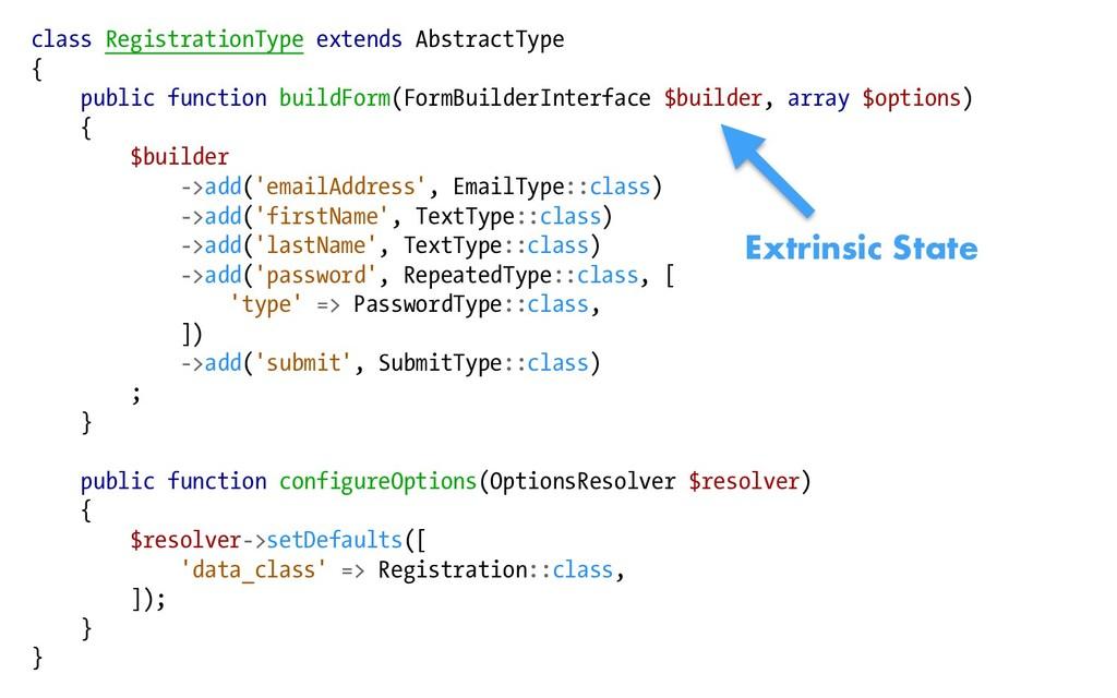 class RegistrationType extends AbstractType { p...