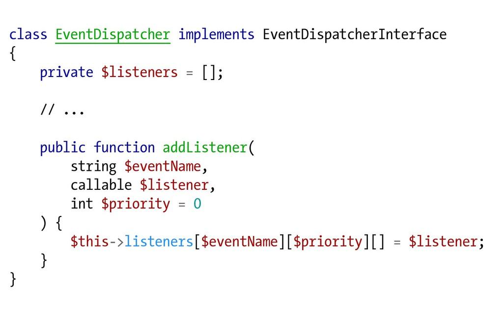class EventDispatcher implements EventDispatche...