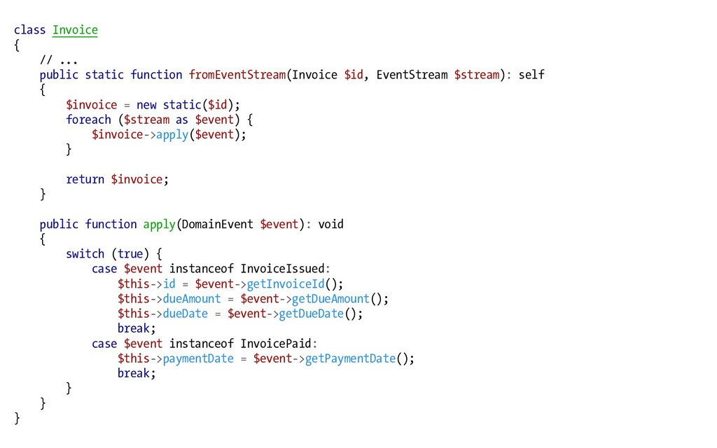class Invoice { // ... public static function f...