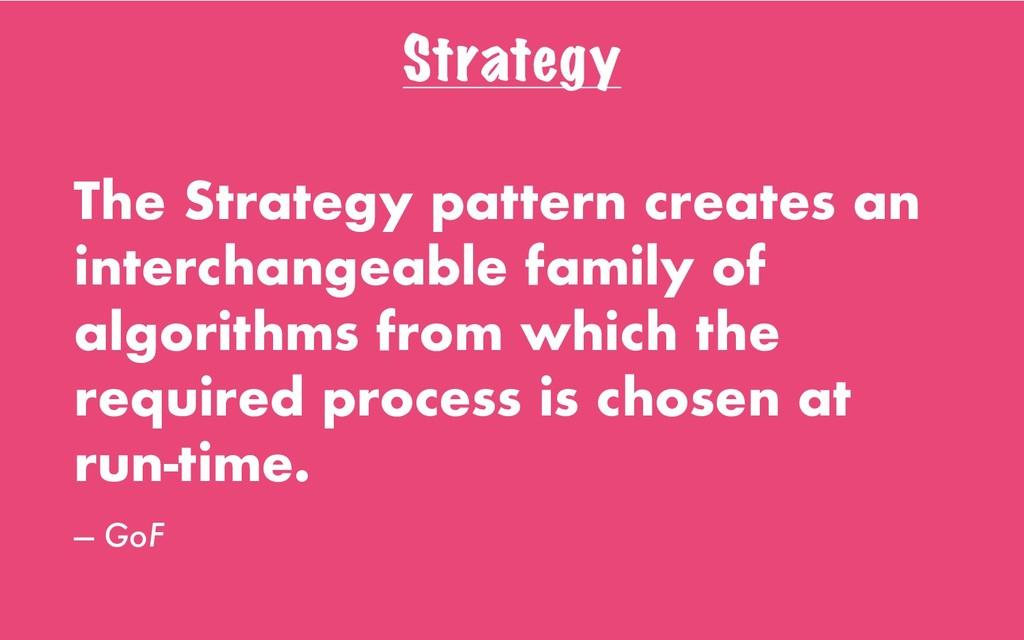 Strategy The Strategy pattern creates an interc...