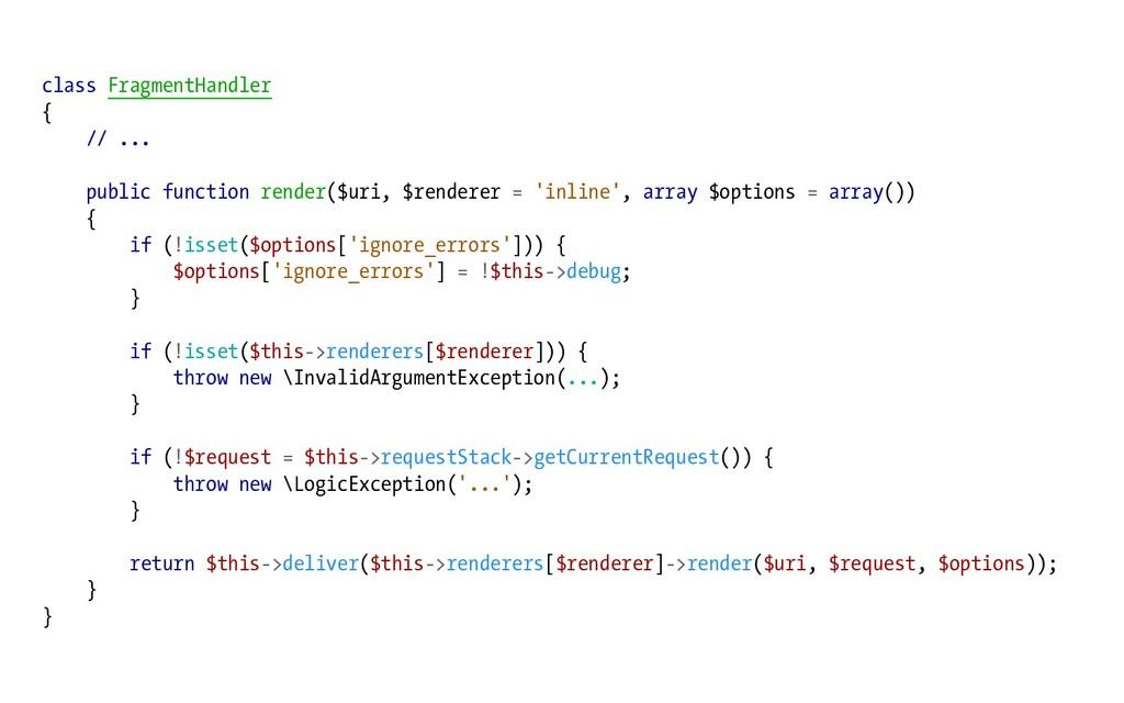 class FragmentHandler { // ... public function ...