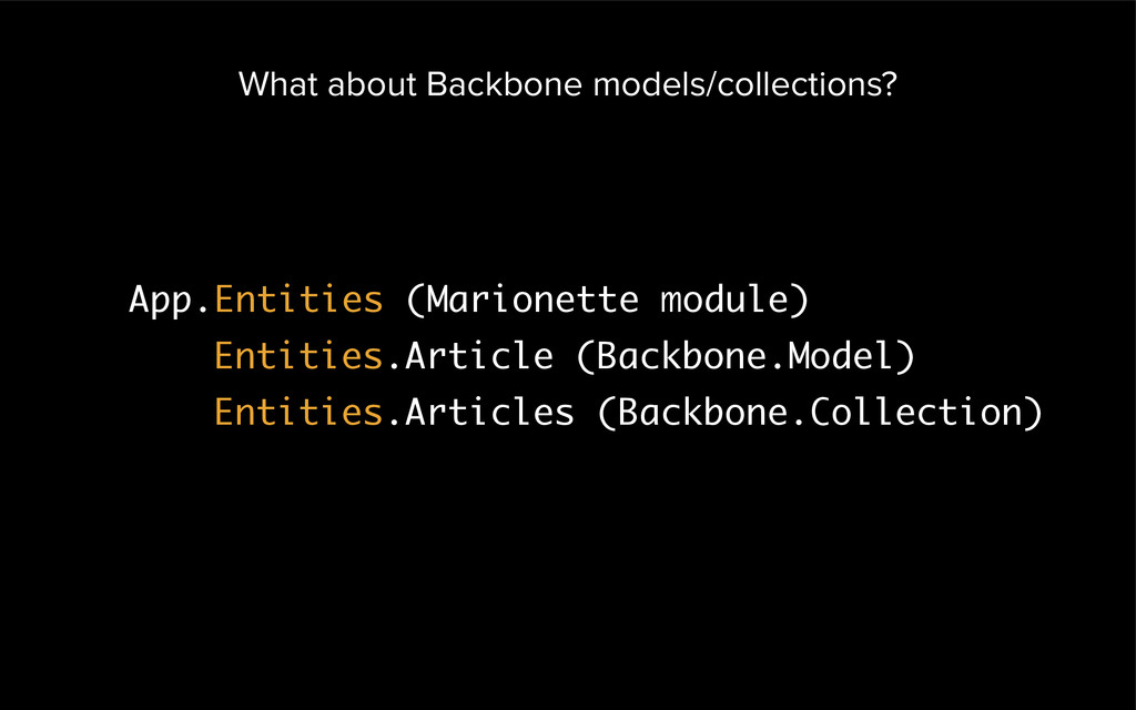 What about Backbone models/collections? App.Ent...