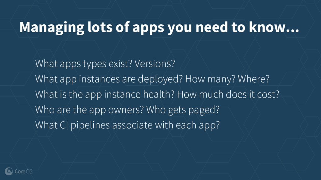 Managing lots of apps you need to know... What ...