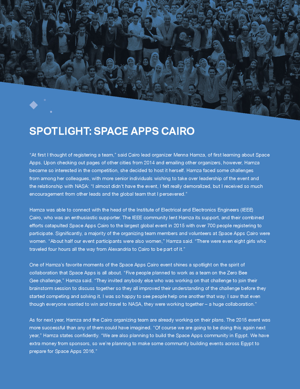 "SPACE APPS 2015 MISSION REPORT 10 ""At first I t..."