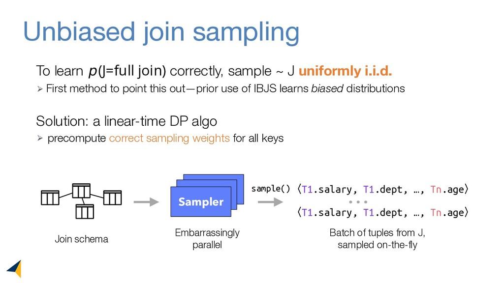 Unbiased join sampling To learn 𝘱(J=full join) ...