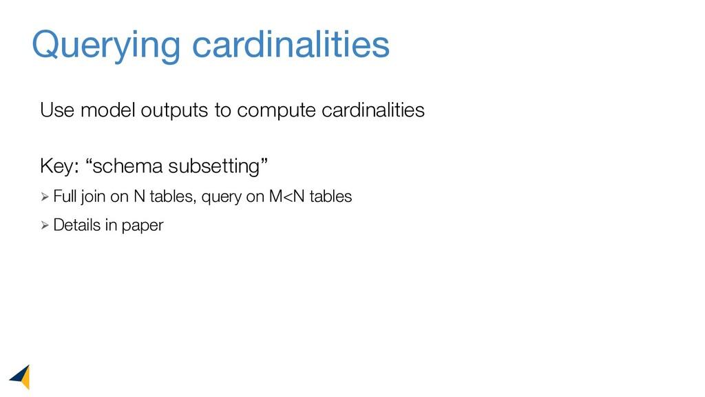 "Querying cardinalities Key: ""schema subsetting""..."