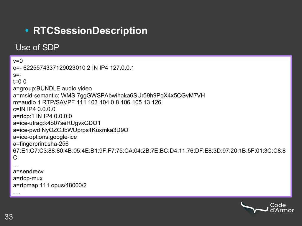 33 • RTCSessionDescription Use of SDP v=0 o=- 6...