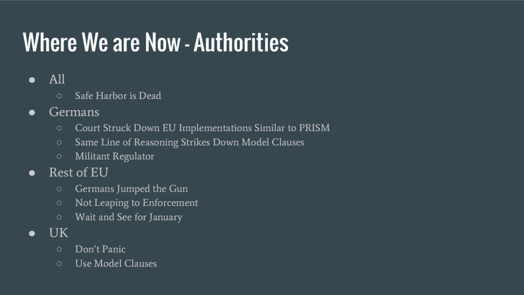 Where We are Now - Authorities ● All ○ Safe Har...
