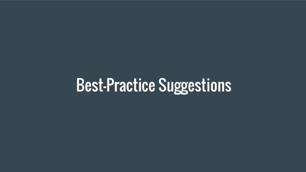 Best-Practice Suggestions
