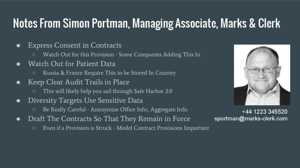 Notes From Simon Portman, Managing Associate, M...