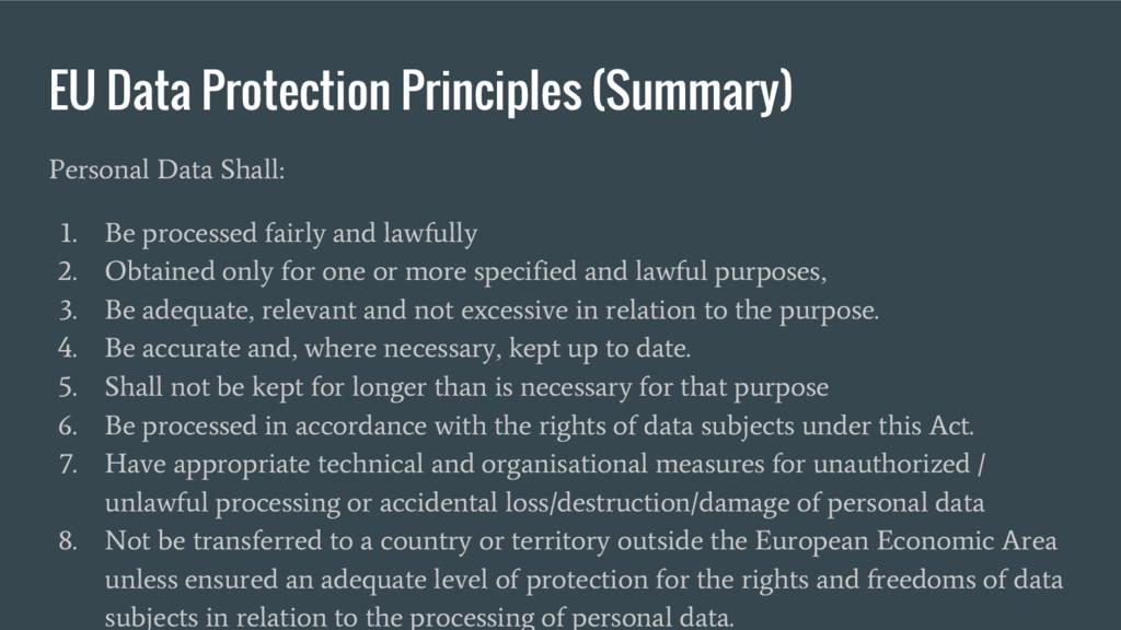 EU Data Protection Principles (Summary) Persona...