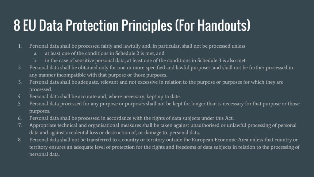 8 EU Data Protection Principles (For Handouts) ...
