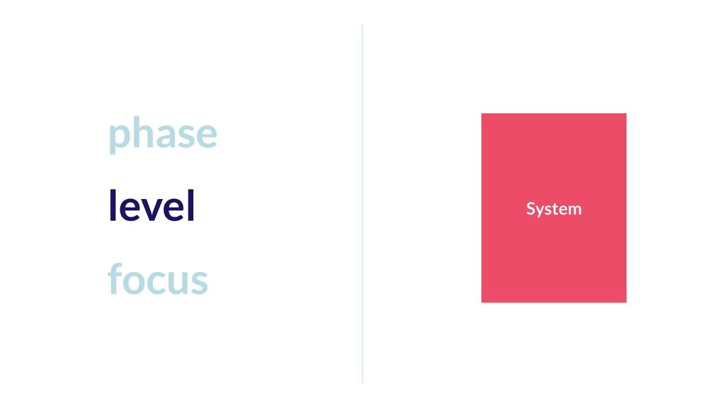 System phase level focus