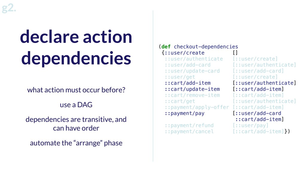 g2. declare action dependencies (def checkout-d...