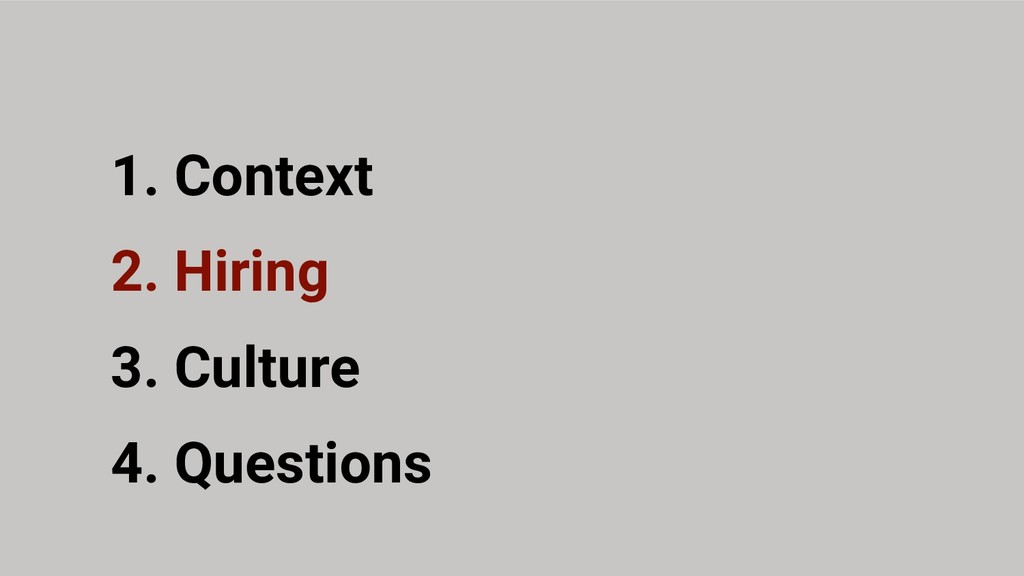 2. Hiring 3. Culture 1. Context 4. Questions