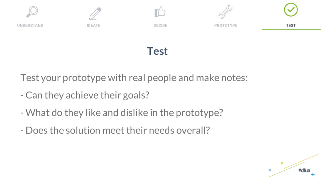 38 Test Test your prototype with real people an...