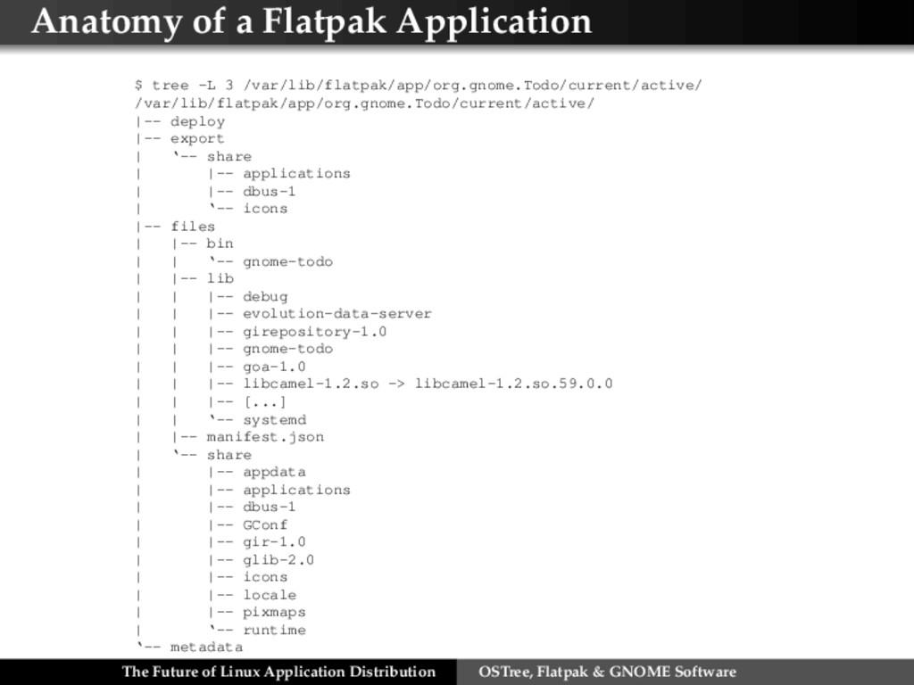 Anatomy of a Flatpak Application $ tree -L 3 /v...