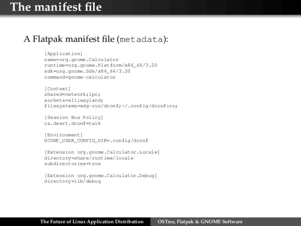 The manifest file A Flatpak manifest file (metada...