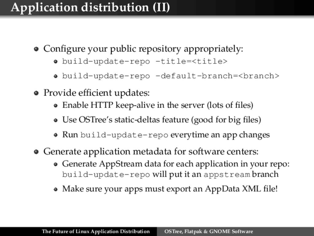 Application distribution (II) Configure your pub...