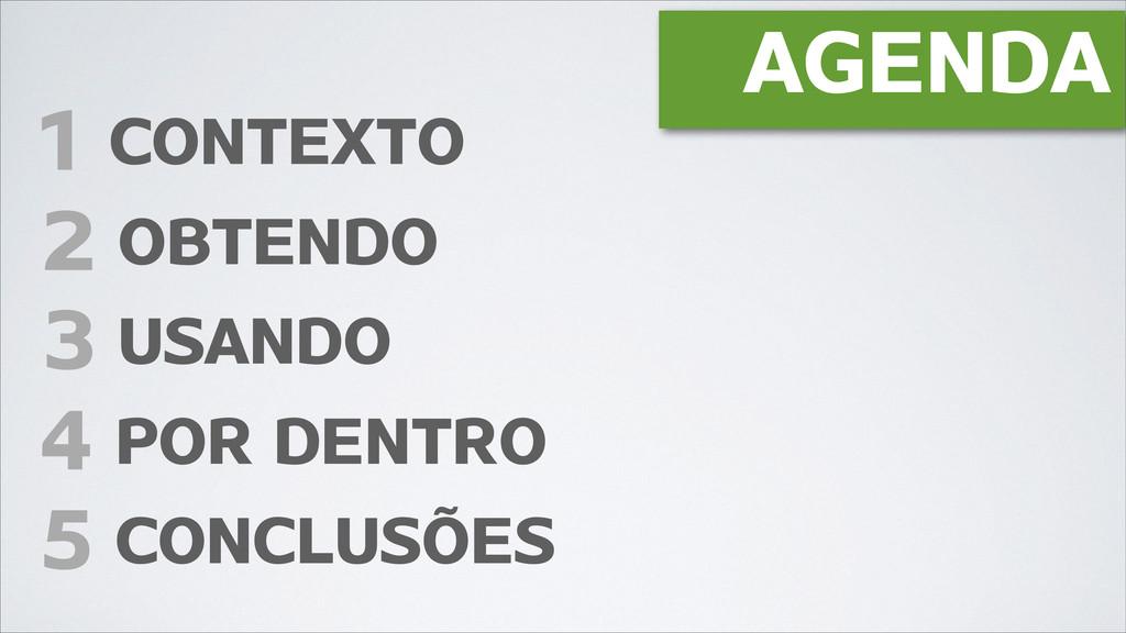 AGENDA 1 CONTEXTO 3 USANDO 4 POR DENTRO 2 OBTEN...