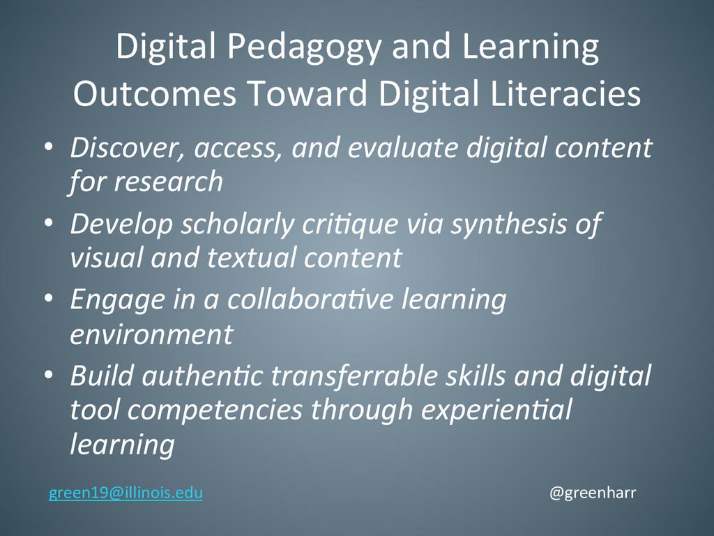Digital Pedagogy and Learning  Outc...