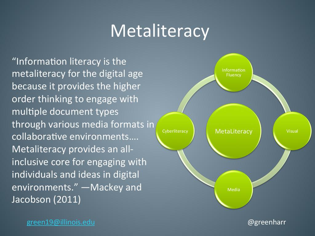 MetaLiteracy  Informa'on  Fluency  Vis...