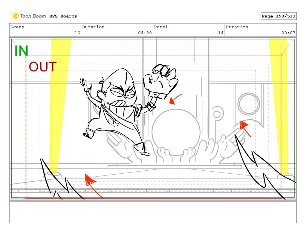 Scene 16 Duration 04:20 Panel 14 Duration 00:07...