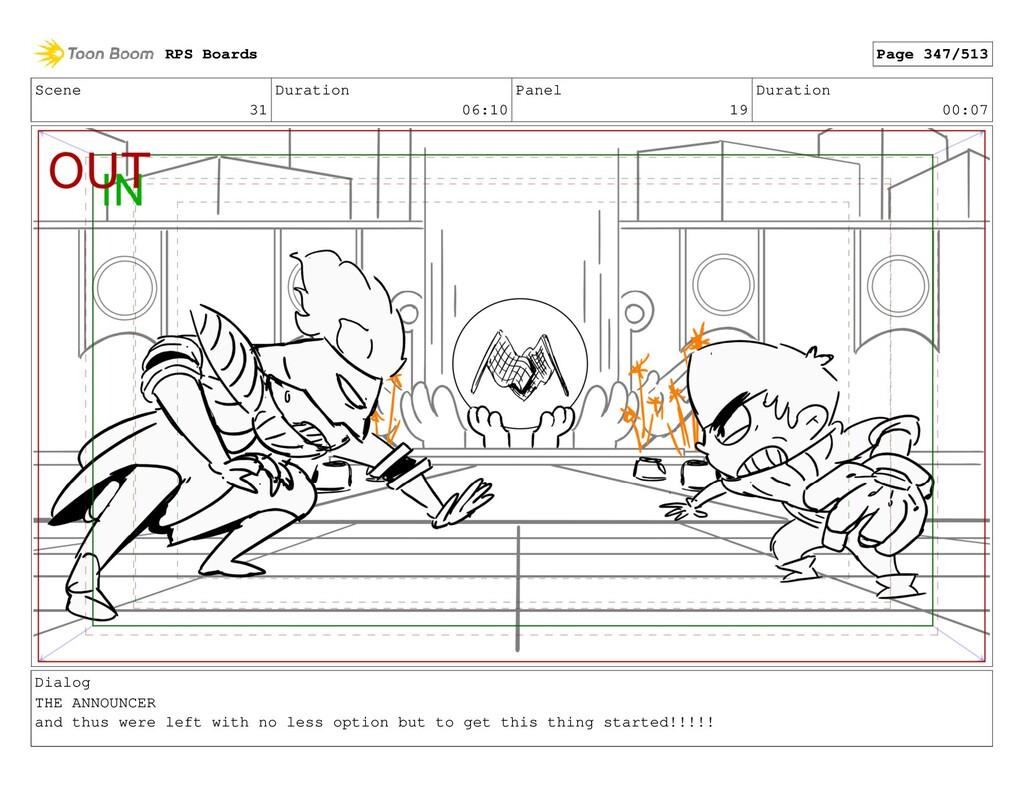 Scene 31 Duration 06:10 Panel 19 Duration 00:07...