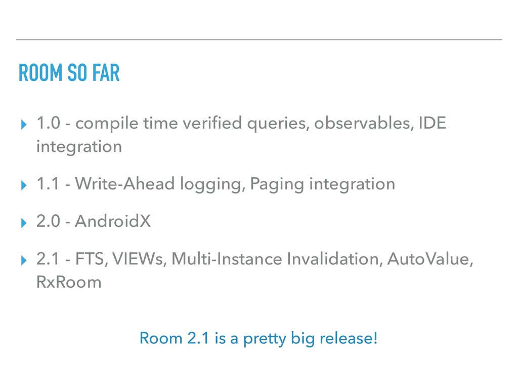 ROOM SO FAR ▸ 1.0 - compile time verified querie...