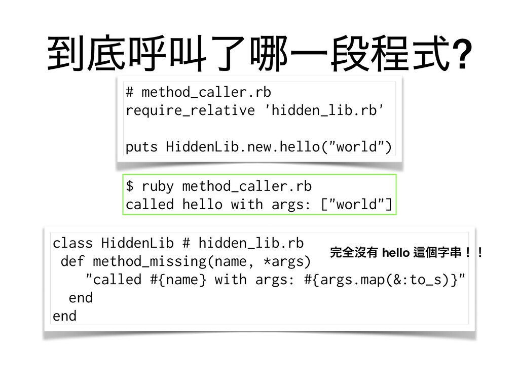 class HiddenLib # hidden_lib.rb def method_miss...