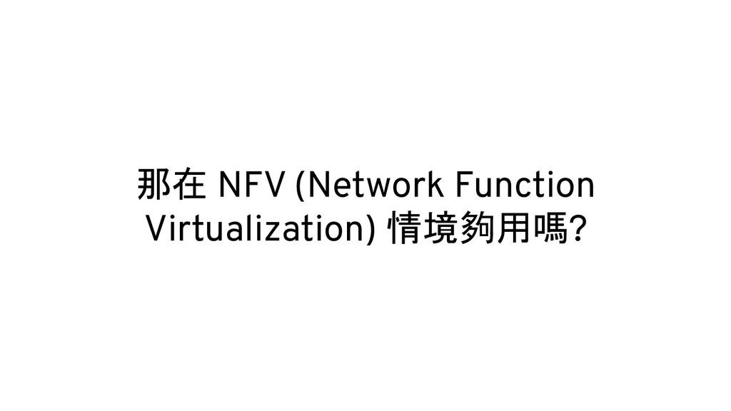 那在 NFV (Network Function Virtualization) 情境夠用嗎?