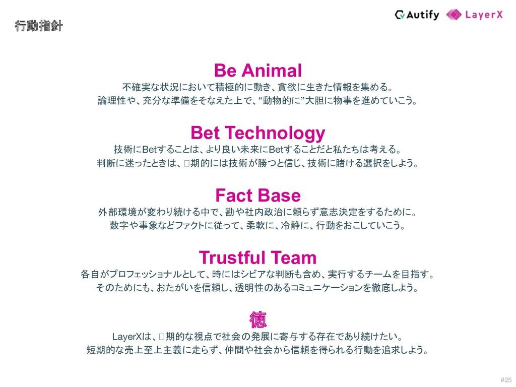 #25 行動指針 Be Animal 不確実な状況において積極的に動き、貪欲に生きた情報を集め...
