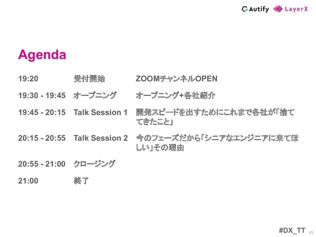 #5 Agenda #DX_TT 19:20 受付開始 ZOOMチャンネルOPEN 19:30...