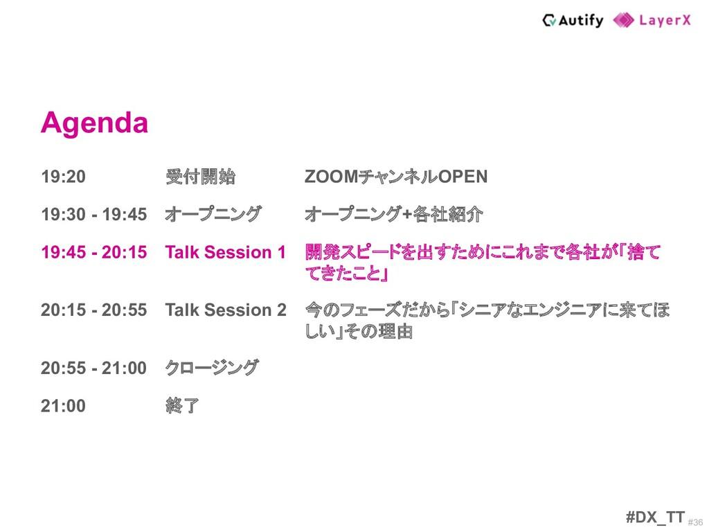 #36 Agenda #DX_TT 19:20 受付開始 ZOOMチャンネルOPEN 19:3...