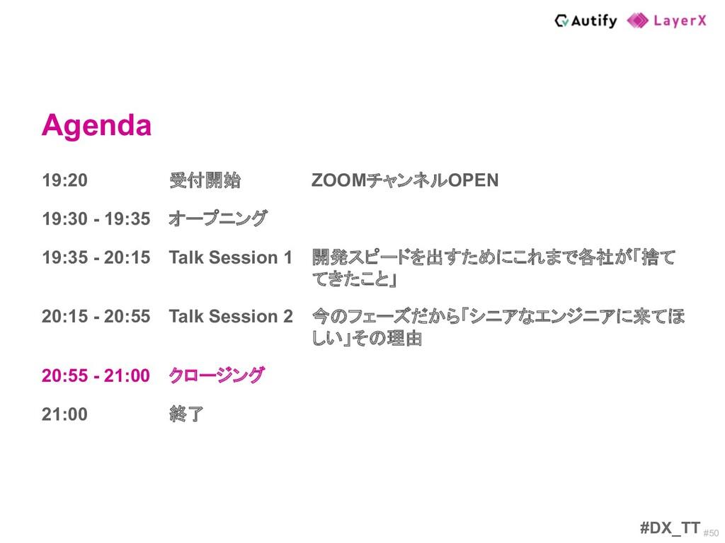#50 Agenda #DX_TT 19:20 受付開始 ZOOMチャンネルOPEN 19:3...