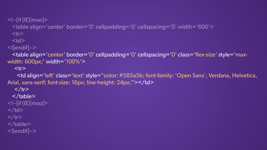<!--[if (IE)|mso]> <table align='center' border...