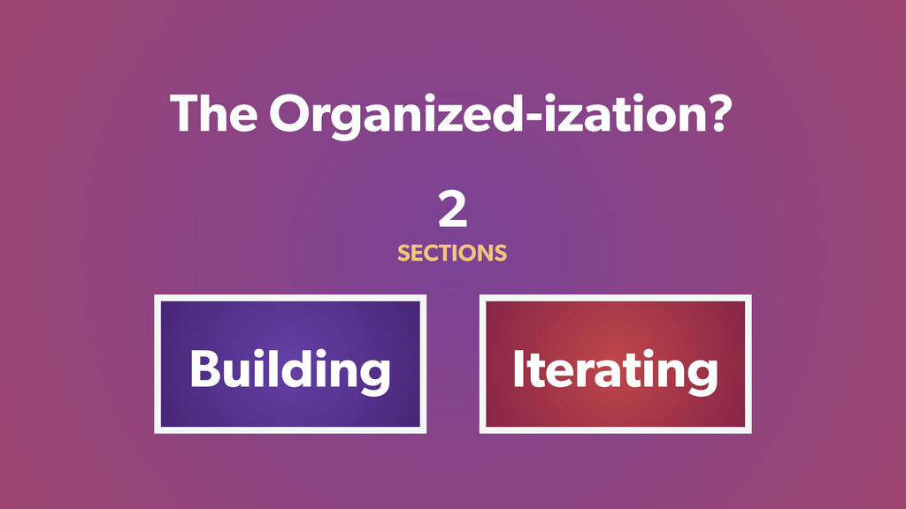 The Organized-ization? Building Iterating 2 SEC...